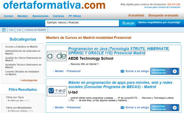 Master presencial en Madrid en Oferta Formativa