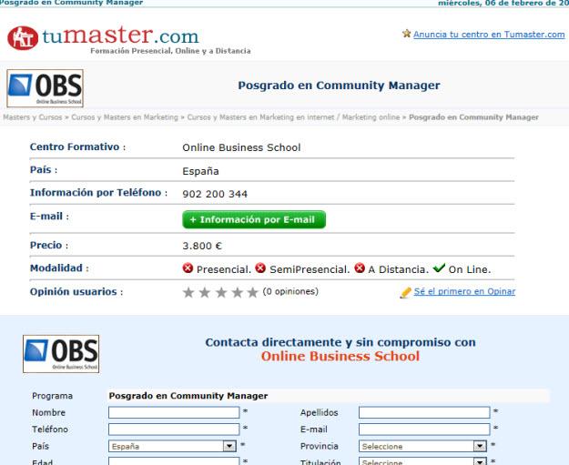 Máster Community Manager barato en Tumaster