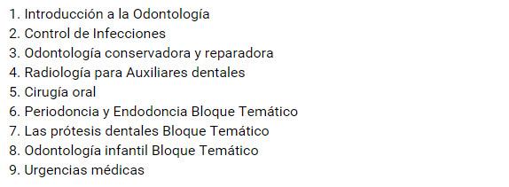 curso de auxiliar de odontologia contenido