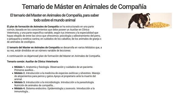 curso veterinario temario