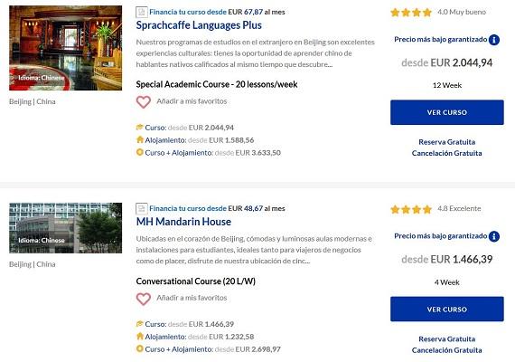 cursos de chino en el extranjero